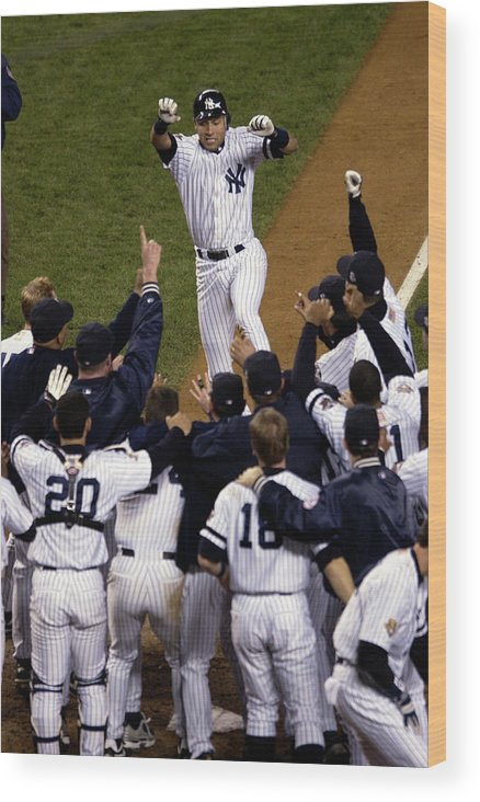 Celebration Wood Print featuring the photograph Derek Jeter by Ezra Shaw