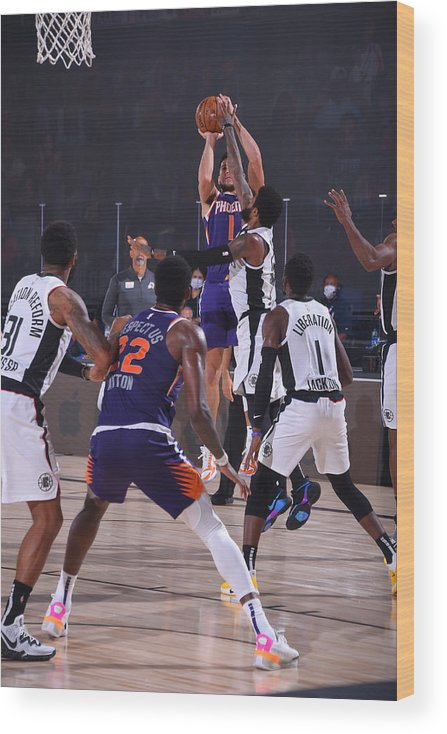 Nba Pro Basketball Wood Print featuring the photograph Devin Booker by Bill Baptist
