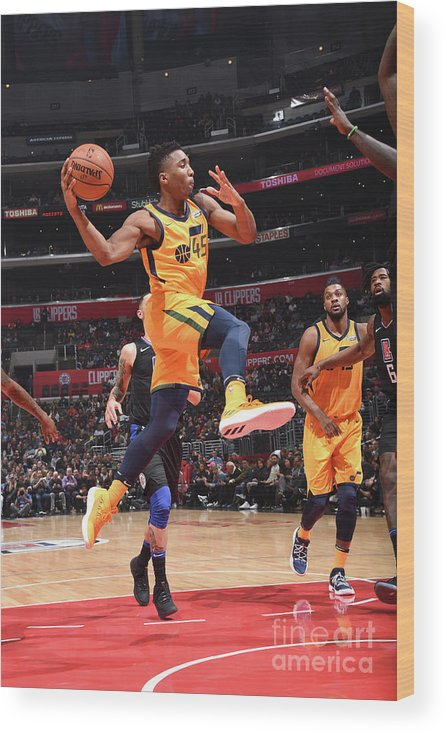 Nba Pro Basketball Wood Print featuring the photograph Donovan Mitchell by Andrew D. Bernstein
