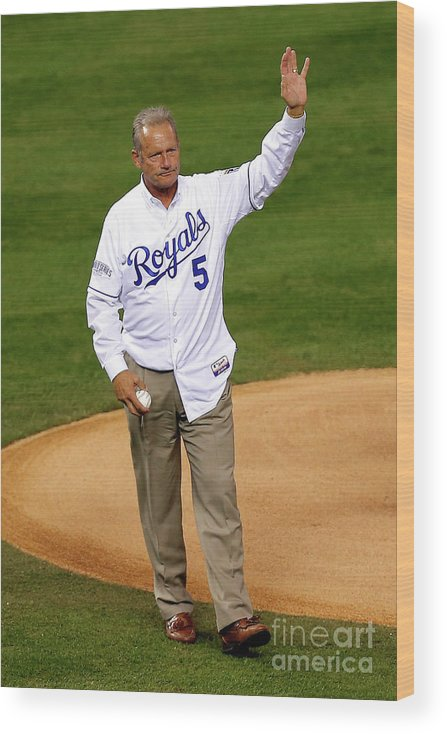 Game Two Wood Print featuring the photograph George Brett by Ed Zurga