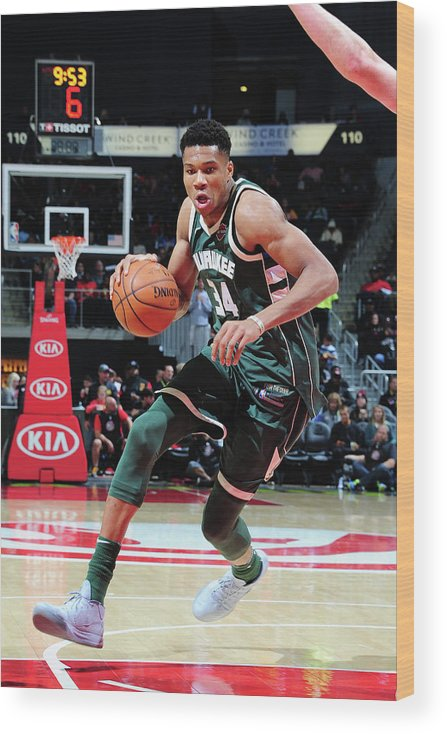 Sport Wood Print featuring the photograph Giannis Antetokounmpo by Scott Cunningham