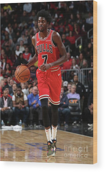 Nba Pro Basketball Wood Print featuring the photograph Justin Holiday by Gary Dineen