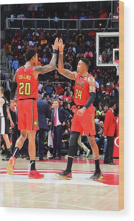 Atlanta Wood Print featuring the photograph Kent Bazemore and John Collins by Scott Cunningham