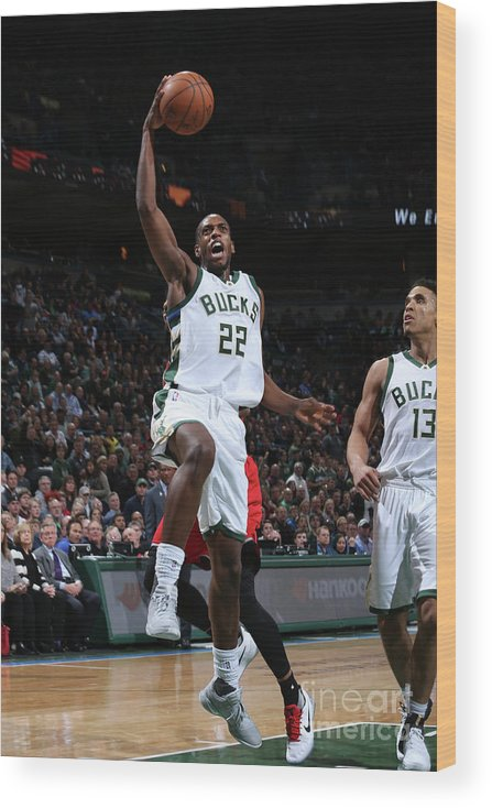 Nba Pro Basketball Wood Print featuring the photograph Khris Middleton by Gary Dineen