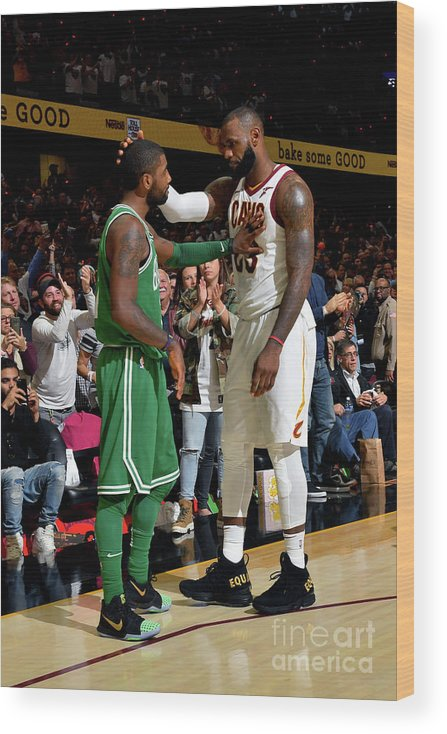 Nba Pro Basketball Wood Print featuring the photograph Kyrie Irving and Lebron James by Jesse D. Garrabrant