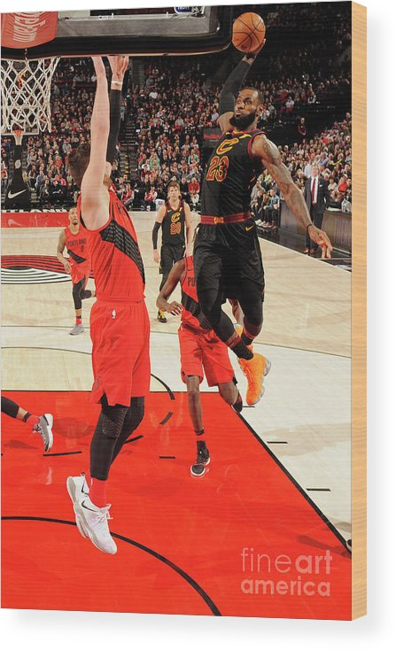 Jusuf Nurkić Wood Print featuring the photograph Lebron James by Cameron Browne