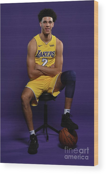 Media Day Wood Print featuring the photograph Lonzo Ball by Aaron Poole