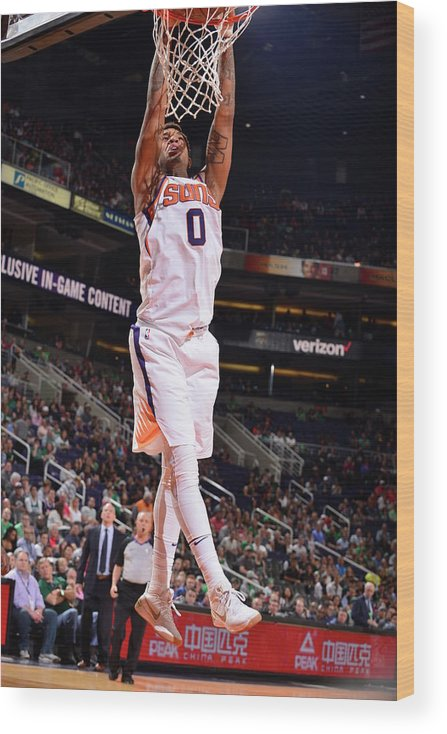 Nba Pro Basketball Wood Print featuring the photograph Marquese Chriss by Barry Gossage