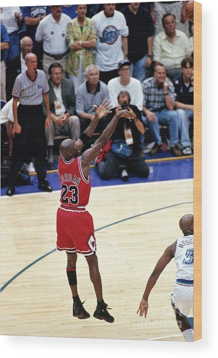 Chicago Bulls Wood Print featuring the photograph Michael Jordan by Nba Photos
