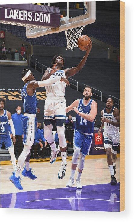 Nba Pro Basketball Wood Print featuring the photograph Minnesota Timberwolves v LA Lakers by Adam Pantozzi