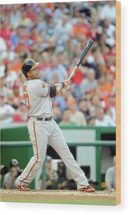 American League Baseball Wood Print featuring the photograph Nelson Cruz by Greg Fiume