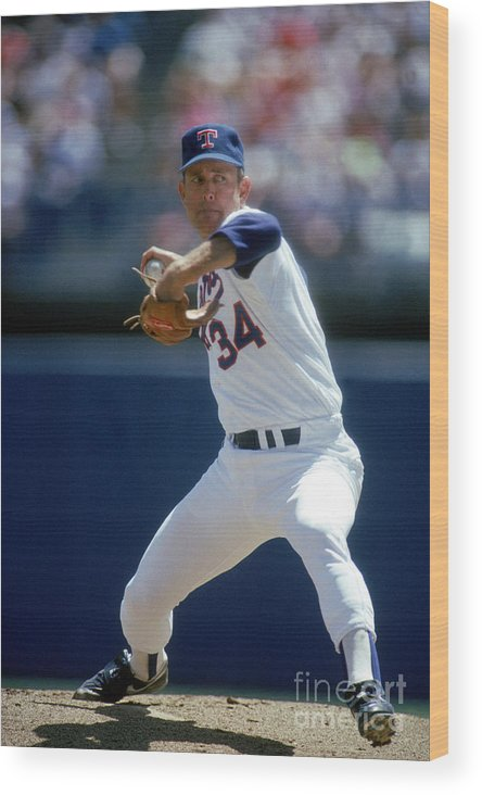1980-1989 Wood Print featuring the photograph Nolan Ryan by Louis Deluca