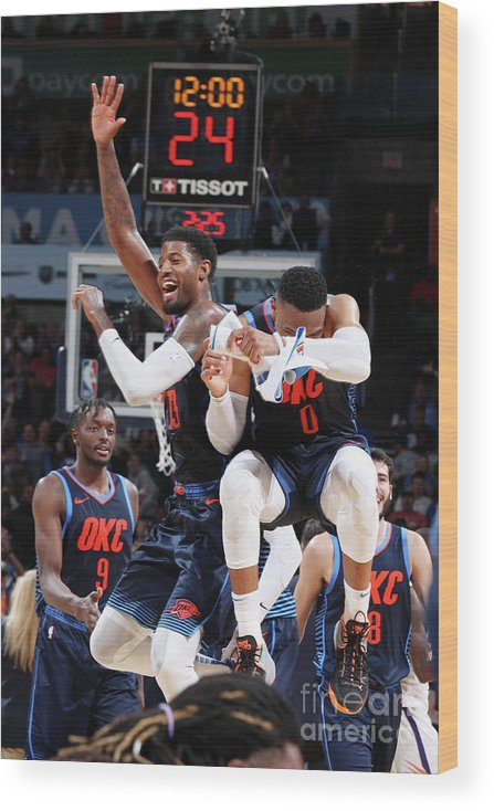 Nba Pro Basketball Wood Print featuring the photograph Paul George and Russell Westbrook by Zach Beeker