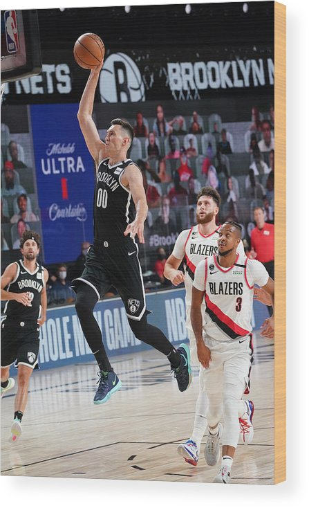 Nba Pro Basketball Wood Print featuring the photograph Portland Trail Blazers v Brooklyn Nets by Jesse D. Garrabrant