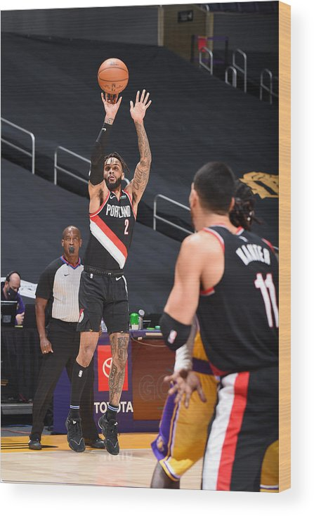 Nba Pro Basketball Wood Print featuring the photograph Portland Trail Blazers v LA Lakers by Adam Pantozzi