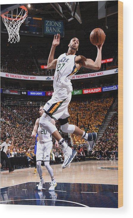 Playoffs Wood Print featuring the photograph Rudy Gobert by Andrew D. Bernstein