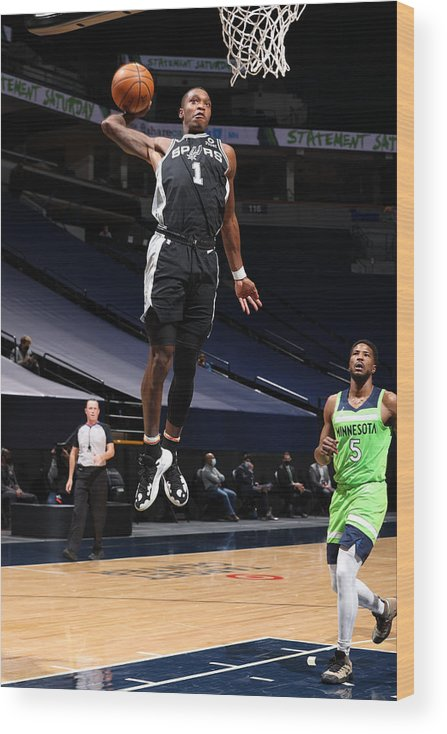 Nba Pro Basketball Wood Print featuring the photograph San Antonio Spurs v Minnesota Timberwolves by David Sherman