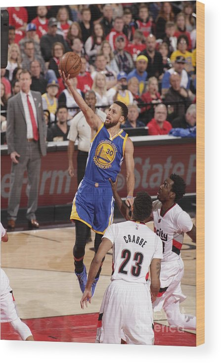 Playoffs Wood Print featuring the photograph Stephen Curry by Cameron Browne