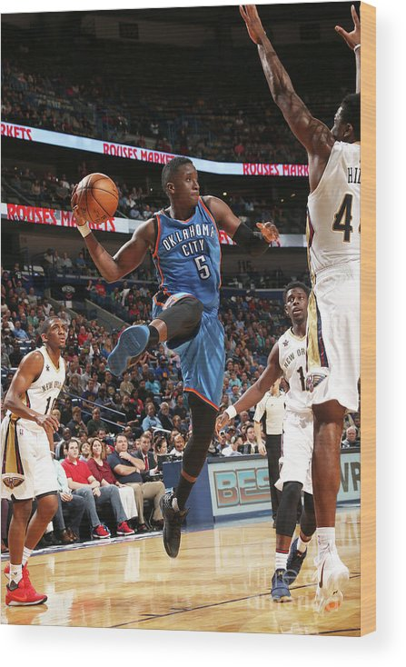 Smoothie King Center Wood Print featuring the photograph Victor Oladipo by Layne Murdoch