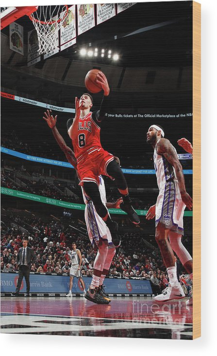 Chicago Bulls Wood Print featuring the photograph Zach Lavine by Jeff Haynes