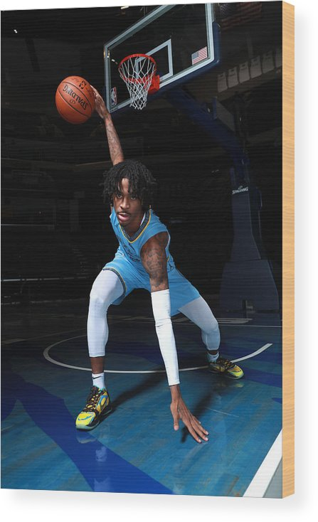 Media Day Wood Print featuring the photograph 2020-2021 Memphis Grizzlies Content Day by Joe Murphy