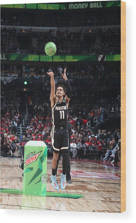 Nba Pro Basketball Wood Print featuring the photograph 2020 NBA All-Star - MTN DEW 3-Point Contest by Nathaniel S. Butler