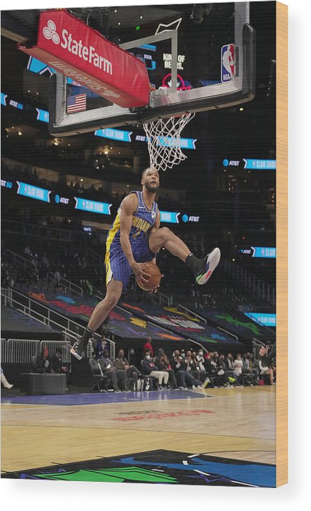 Atlanta Wood Print featuring the photograph 2021 NBA All-Star - AT&T Slam Dunk Contest by Jesse D. Garrabrant