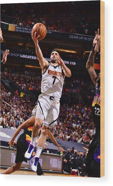Playoffs Wood Print featuring the photograph 2021 NBA Playoffs - Denver Nuggets v Phoenix Suns by Barry Gossage