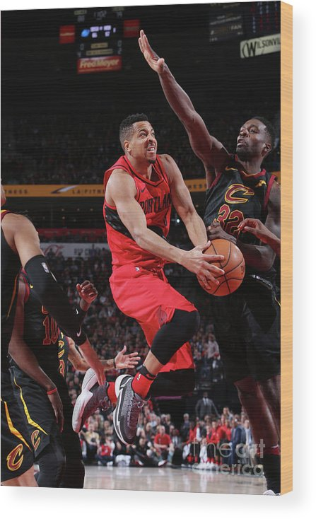Sports Ball Wood Print featuring the photograph C.j. Mccollum by Sam Forencich