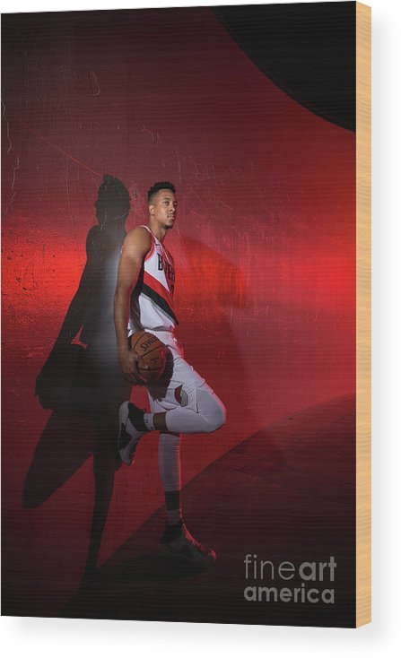 Media Day Wood Print featuring the photograph C.j. Mccollum by Sam Forencich