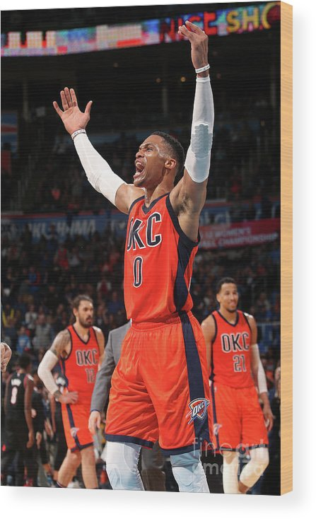 Crowd Wood Print featuring the photograph Russell Westbrook by Layne Murdoch