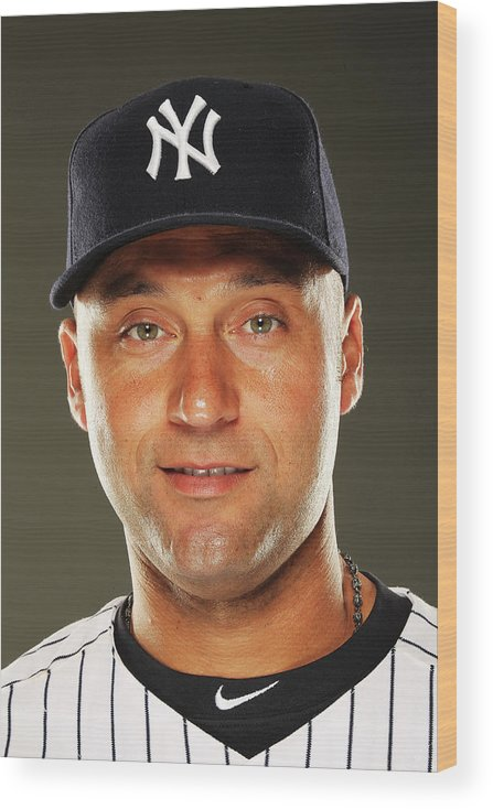 Media Day Wood Print featuring the photograph Derek Jeter by Al Bello