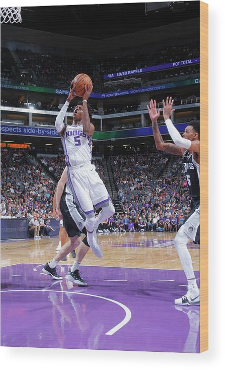 Nba Pro Basketball Wood Print featuring the photograph De'aaron Fox by Rocky Widner