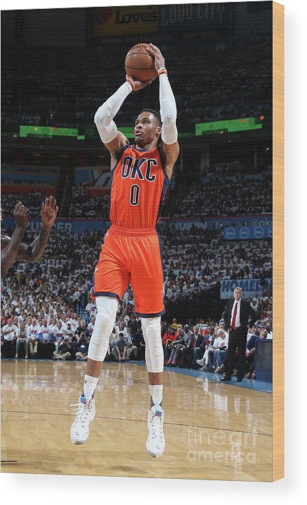 Playoffs Wood Print featuring the photograph Russell Westbrook by Layne Murdoch