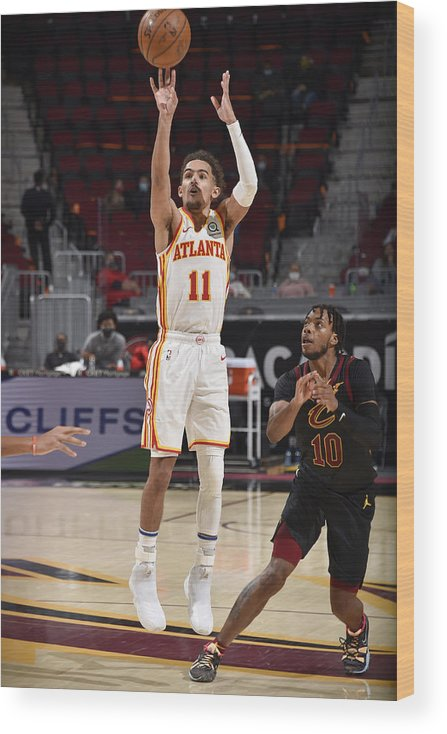 Nba Pro Basketball Wood Print featuring the photograph Atlanta Hawks v Cleveland Cavaliers by David Liam Kyle