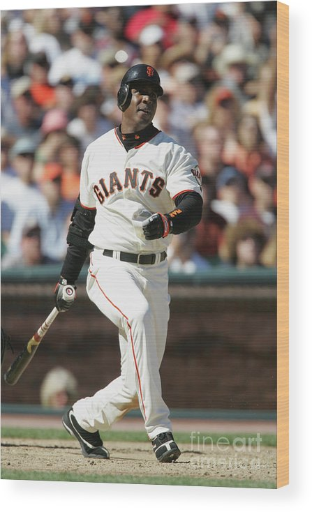 San Francisco Wood Print featuring the photograph Barry Bonds by Brad Mangin