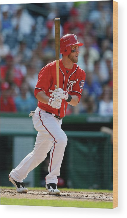 Following Wood Print featuring the photograph Bryce Harper by Rob Carr