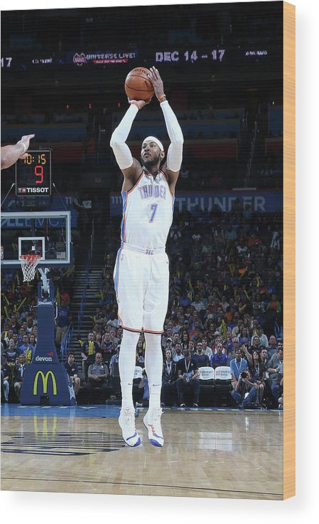 Nba Pro Basketball Wood Print featuring the photograph Carmelo Anthony by Layne Murdoch
