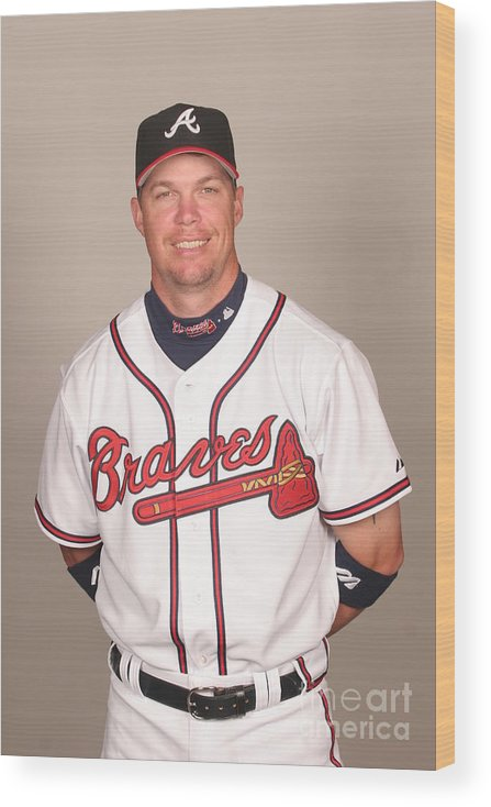 Media Day Wood Print featuring the photograph Chipper Jones by Tony Firriolo