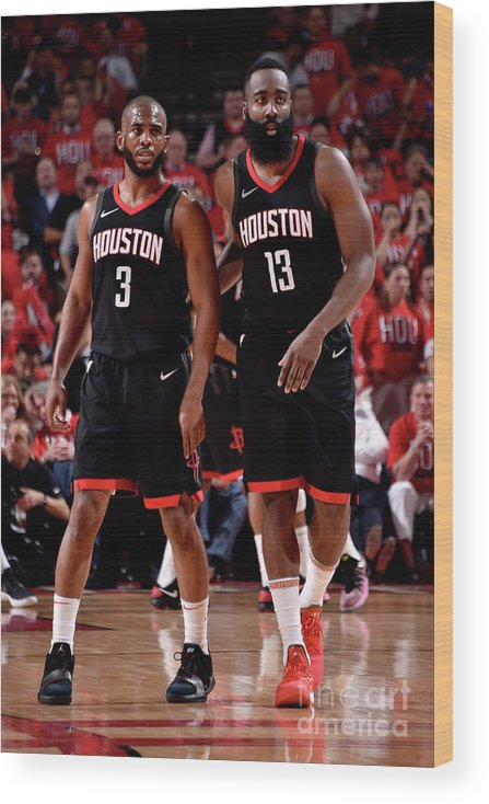 Playoffs Wood Print featuring the photograph Chris Paul and James Harden by Bill Baptist