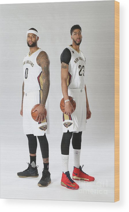 Nba Pro Basketball Wood Print featuring the photograph Demarcus Cousins and Anthony Davis by Layne Murdoch