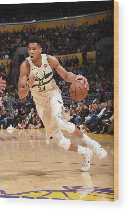 Nba Pro Basketball Wood Print featuring the photograph Giannis Antetokounmpo by Andrew D. Bernstein