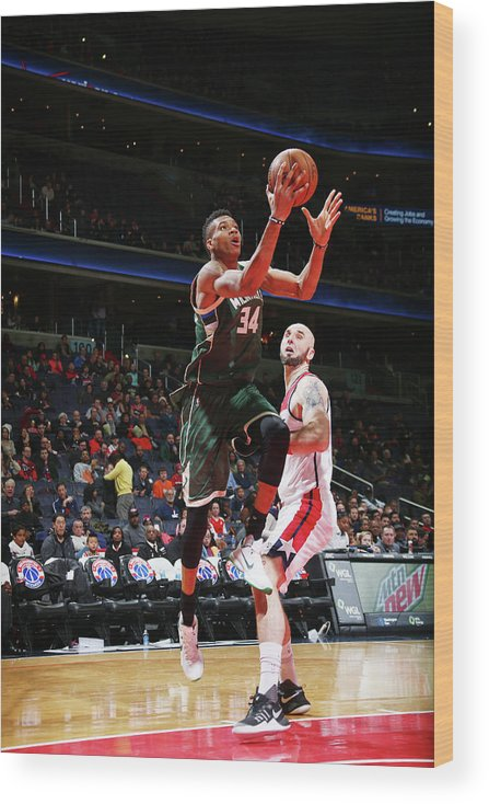 Nba Pro Basketball Wood Print featuring the photograph Giannis Antetokounmpo by Ned Dishman