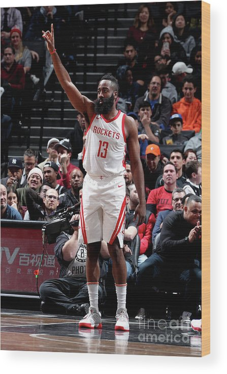 Crowd Wood Print featuring the photograph James Harden by Nathaniel S. Butler