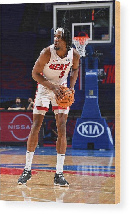 Nba Pro Basketball Wood Print featuring the photograph Miami Heat v Philadelphia 76ers by Jesse D. Garrabrant