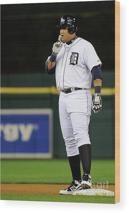 American League Baseball Wood Print featuring the photograph Miguel Cabrera by Kevork Djansezian