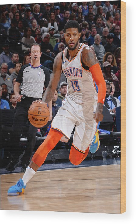 Nba Pro Basketball Wood Print featuring the photograph Paul George by Bart Young