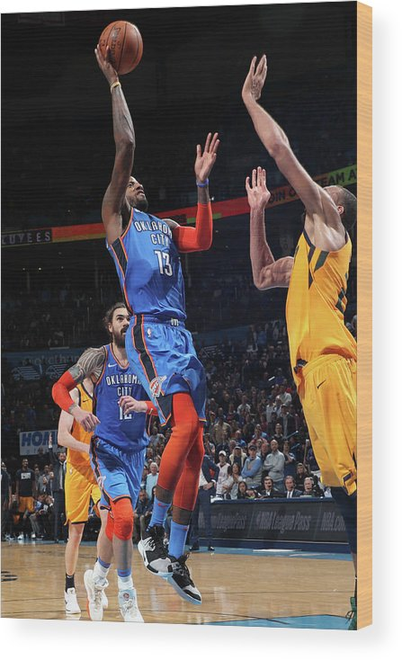 Nba Pro Basketball Wood Print featuring the photograph Paul George by Zach Beeker