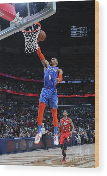 Smoothie King Center Wood Print featuring the photograph Russell Westbrook by Layne Murdoch Jr.