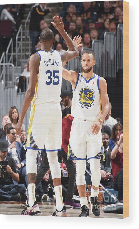 Playoffs Wood Print featuring the photograph Stephen Curry and Kevin Durant by Andrew D. Bernstein
